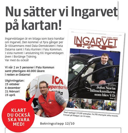 Säljbrev för tidningen Ingarvet med rubriken Nu sätter vi Ingarvet på kartan som rubrik.