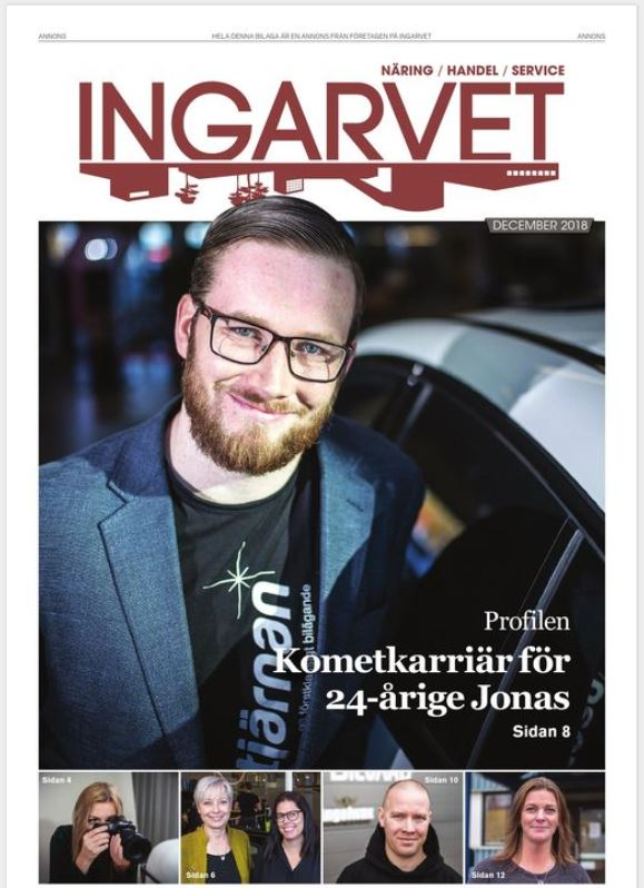 Skärmklipp på första sidan av tidningen Ingarvet.
